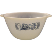 Fire-King Currier & Ives Royal China Milk Glass Mixing Bowl