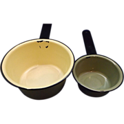 Yellow Green Enamel Sauce Pan Pair Small
