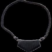 Hematite Bead Fringe Necklace Barrel Clasp
