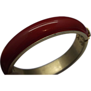 Red Domed Lucite Brass Clamper Bracelet Bangle
