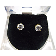 Cubic Zirconia Stud Earrings Lucite Box