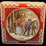 Daher Red Winter Christmas Tin Metallic Crackle Finish