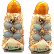 SOLD Florida Souvenir Seashell Encrusted Salt Pepper Shakers - Red Tag Sale Item