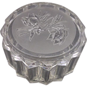 Clear Lucite Dresser Box Carved Flowers Lid