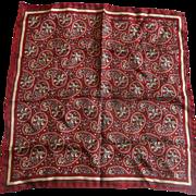 SOLD Dark Red Paisley Silk Men's Pocket Square Handkerchief