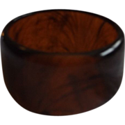 Root Beer Lucite Faux Tortoiseshell Wide Bangle Bracelet
