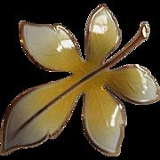 SALE Yellow Guilloche Enamel Leaf Pin Gold Tone