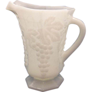 SOLD Anchor Hocking Vintage Milk Glass Grape Pattern Pitcher