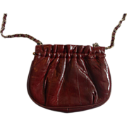Lee Sands Eel Skin Small Shoulder Bag Clutch Oxblood Burgundy
