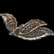 SALE Pink Aurora Borealis Rhinestone Pin Gold Tone Leaves Feathers