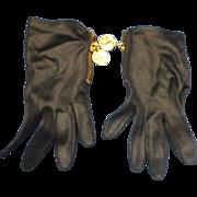 Black Satin Wrist Length Gloves Zipper Gold Tone Coin Pulls