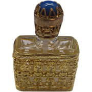 Filigree Gold Tone Metal Encased Perfume Bottle Made in France