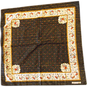 J Micosancho Paris Brown Floral Scarf Polyester Made in Italy Large Square