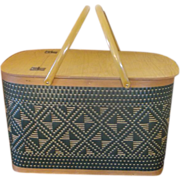 Green Redmon Wicker Woven Picnic Basket Large Hamper
