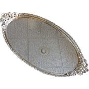 Gilt Ormolu Oval Mirror Dresser Tray Daisies Flower Handles