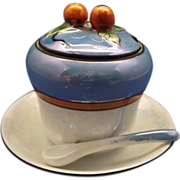 SOLD Noritake Art Deco Blue Luster Condiment Jar With Spoon - Red Tag Sale Item