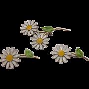 Daisy Flower Power White Green Enamel Scatter Pins Set