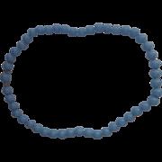 Crown Trifari Blue Lucite Bead Necklace