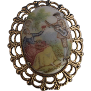 SALE Fragonard Scene Oval Brooch Pin Gold Tone Filigree