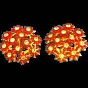 Red Flower Rhinestone Cluster Clip Earrings