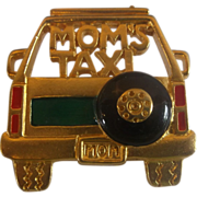 Mom's Taxi Gold Tone Pin Brooch Signed Ren