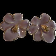 Pink Enamel Flower Earrings Gold Plated