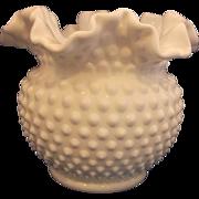"SOLD Fenton Hobnail White Milk Glass Double Crimped 5 1/2"" Vase"