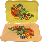 SOLD Fruit Litho Small Metal Trays Set of 6 Shabby Chic Yellow Peach Green Enamel - Red Tag Sa