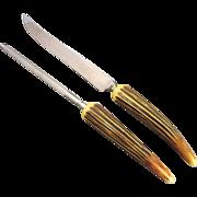 Bakelite Horn Handle Carving Knife Sharpening Steel Crown Crest Sheffield England