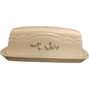 Pfaltzgraff Heirloom Covered Butter Dish Grey White Flowers