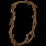 Emerald Green Bezel Set Dangle Crystals Necklace Gold Tone