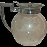 Pyrex Floral Engraved Spray Pattern Teapot Beverage Server Chrome Handle Lid 1920s-30s