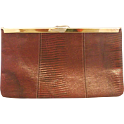 Etra Burgundy Wine Red Lizard Embossed Leather Convertible Clutch Purse