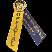 Knute Rockne All-American Movie Premiere Ribbon Pin 1940 Blue Gold