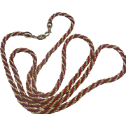 Trifari Gold Red Rope Twisted Cord Necklace Chain
