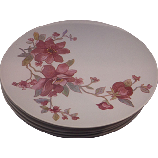 Pink Flower Melmac Dinner Plates Set of 6