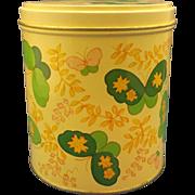 Jean Nate Dusting Powder Yellow Green Butterflies Tin Empty