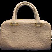 Bags by Supreme White Ostrich Look Satchel Handbag Purse
