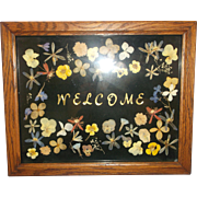 Pressed Dried Flowers Welcome Sign Framed