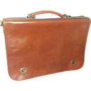 Italian Leather Messenger Bag Briefcase C&C Genuine Leather Glazed Dark Brown Cognac