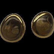 Brown Cream Swirled Enamel Teardrop Earrings