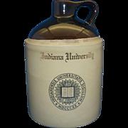 Indiana University Souvenir Advertising Decorated Stoneware Jug Crock