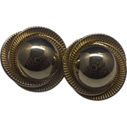 Gold Tone Ribbed Circle Earrings Clips