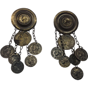 Republic Francais Faux Coin Dangle Earrings
