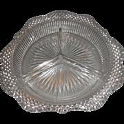 Westmoreland English Hobnail Crystal Three Part Relish Scalloped Rim