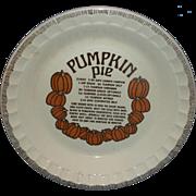 Pumpkin Pie Recipe Pie Plate Pan Royal China Country Harvest