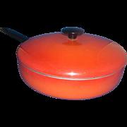 Red Orange Enamel Aluminum Skillet With Lid Enterprise Quality Cookware Masillion Ohio 9 IN