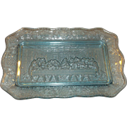 Last Supper Plate Ice Blue Glass Indiana Tiara Exclusives