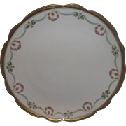 SALE MZ Austria Moritz Zdekauer Porcelain Charger Chop Plate Pink Roses Wreath Green Flower Sw
