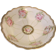 PM Bavaria Pink Roses Yellow Wash Gold Trim Open Round Vegetable Serving Bowl German Porcelain